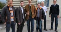 Hubert Galler (Produktionsleiter), Dipl.-Ing. Wilfried Klade, Mag. Michael Wardian, Gregor Cecon, Johann Fleiß (Expeditleitung), Wolfgang Rauter (v.l.n.r.)